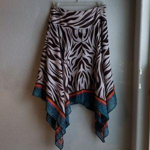 Boston Proper Brown Zebra Asymmetrical skirt 10